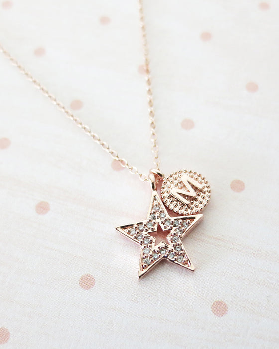 Rose Gold Star Initial Necklace | Celestial Jewelry | Minimalistic Whimsical