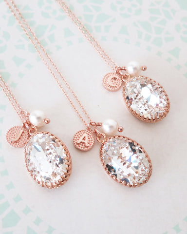 Clear Oval Crystal Necklace