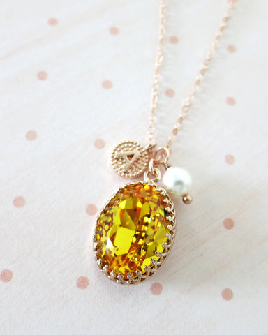 Sunflower Oval Crystal Necklace