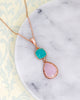 Mint Pink Rose Gold Earrings