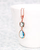 Erinite Aquamarine Blue Rose Gold Jewelry Set