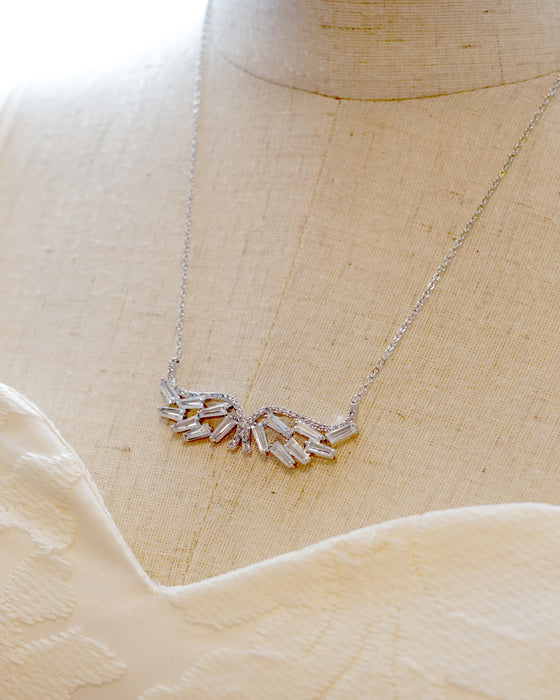 Rose Gold Angel Wing Necklace | Elegant Wedding Bride Bridal Jewelry
