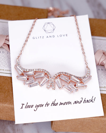 Rose Gold Angel Wing Necklace | Whimsical Elegant Wedding Bridal Gift
