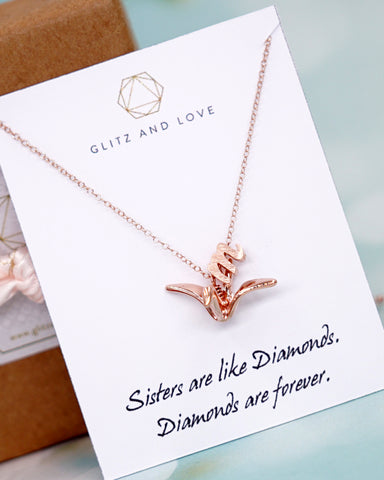 Rose Gold Origami Crane Necklace
