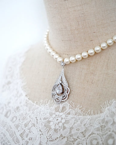 Art Deco Statement Pearl Necklace