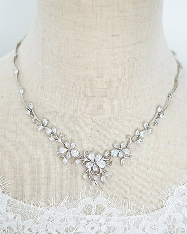 Silver Statement Floral Backdrop Necklace