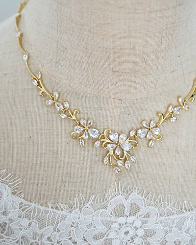 Gold Statement Floral Backdrop Necklace