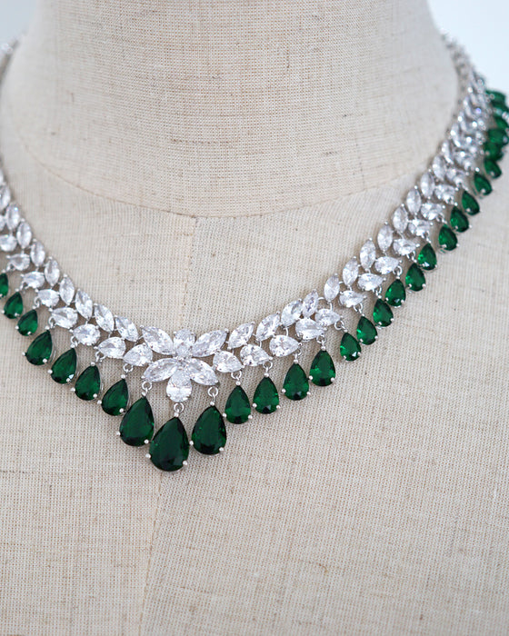 Statement Princess Emerald Necklace and Earrings | Bridal Brides Wedding Jewelry