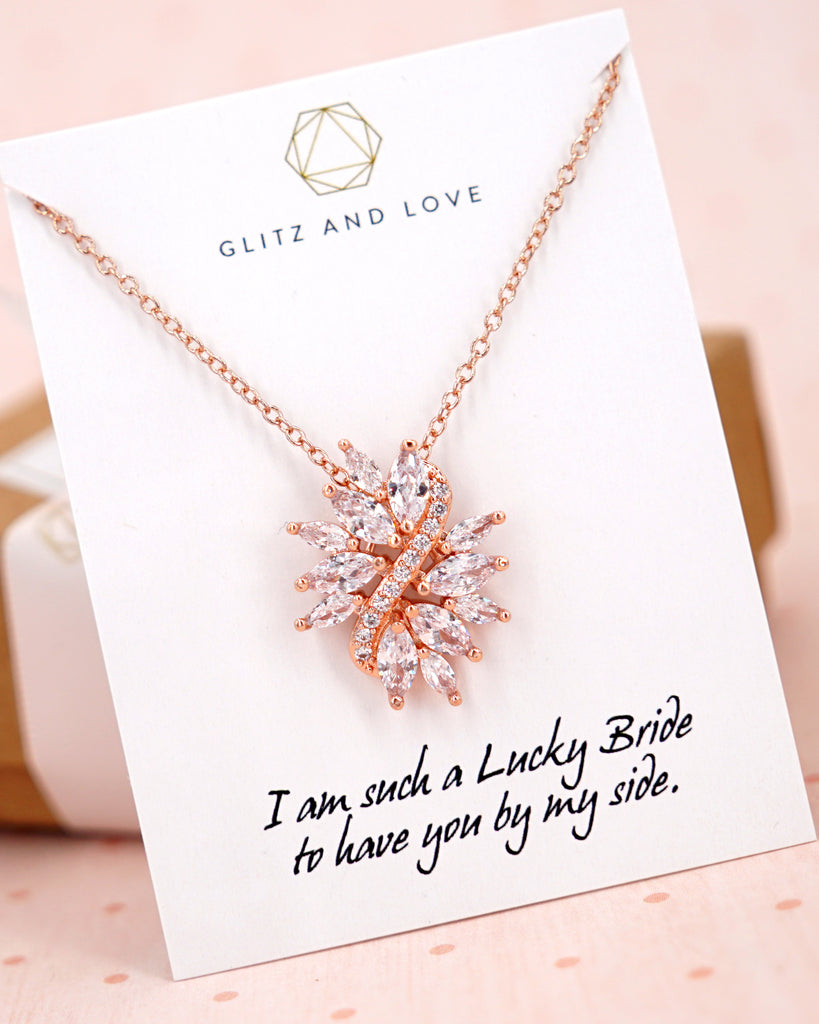 Rose Gold Marquise Cut CZ Necklace