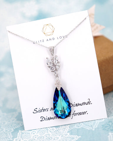 Bermuda Blue Crystal Necklace