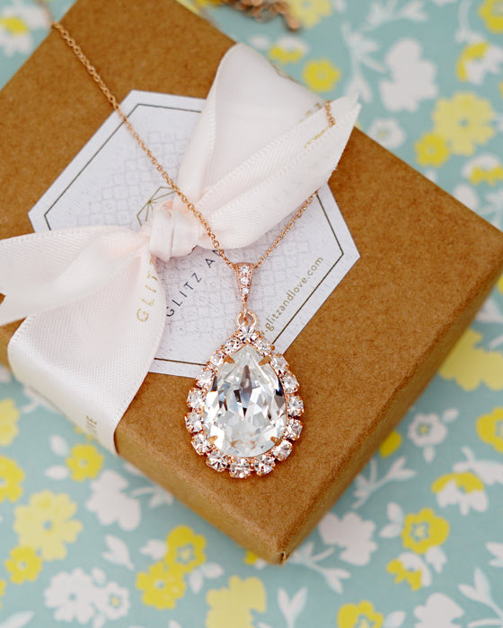 Rose Gold Luxe Crystal Teardrop Earrings & Necklace | Bridal Jewelry | Wedding Exquisite