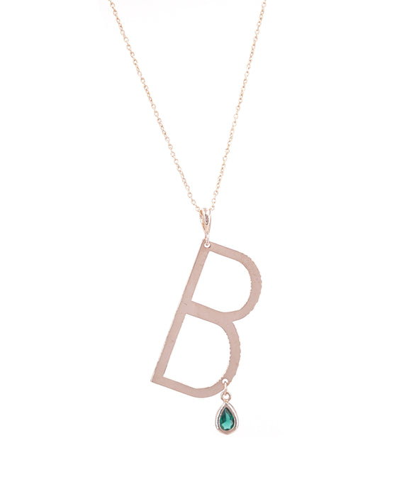 Signature Initial & Birthstone Necklace - B