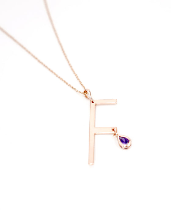 Rose Gold Signature Initial & Birthstone Necklace - F