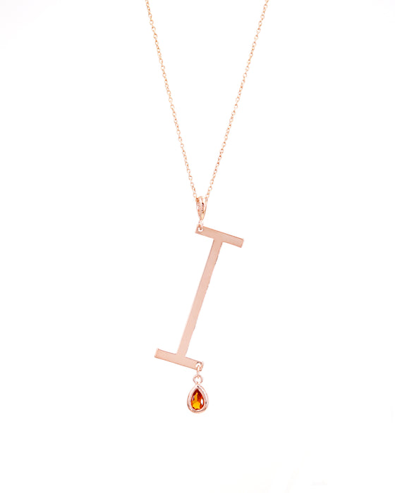 Rose Gold Signature Initial & Birthstone Necklace - I