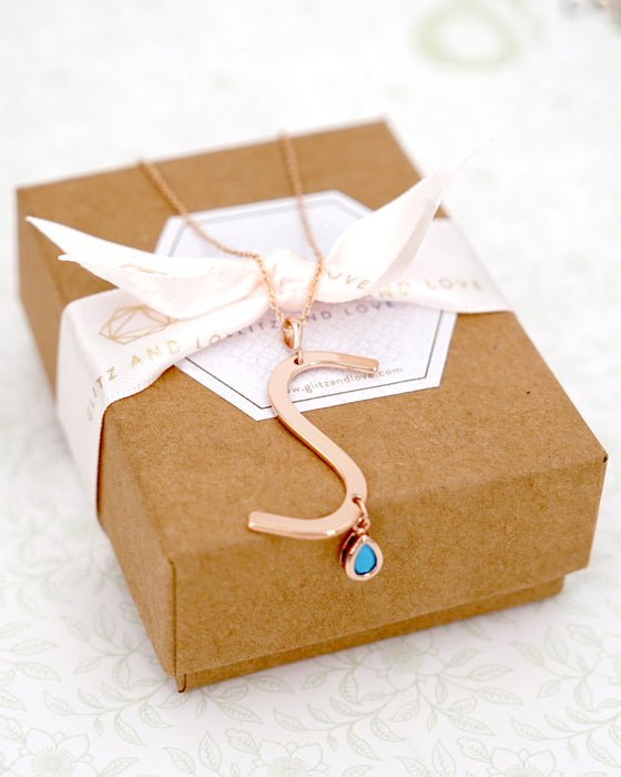 Rose Gold Signature Initial & Birthstone Necklace - S