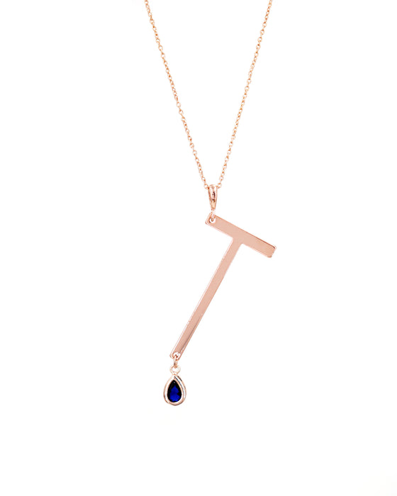 Rose Gold Signature Initial & Birthstone Necklace - T