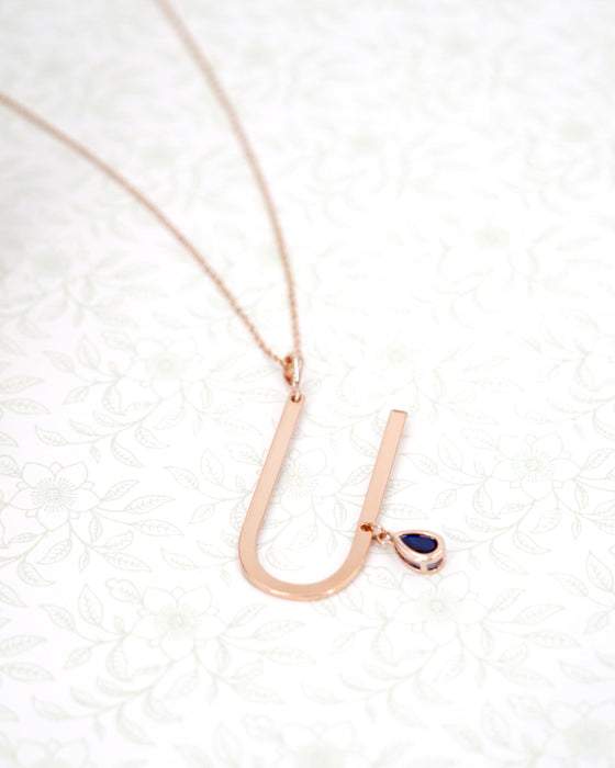 Rose Gold Signature Initial & Birthstone Necklace - U