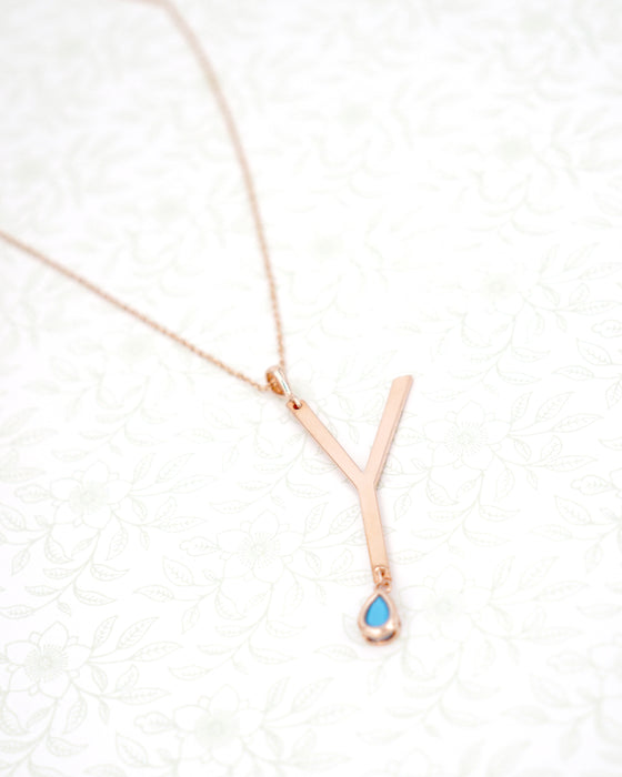 Rose Gold Signature Initial & Birthstone Necklace - Y