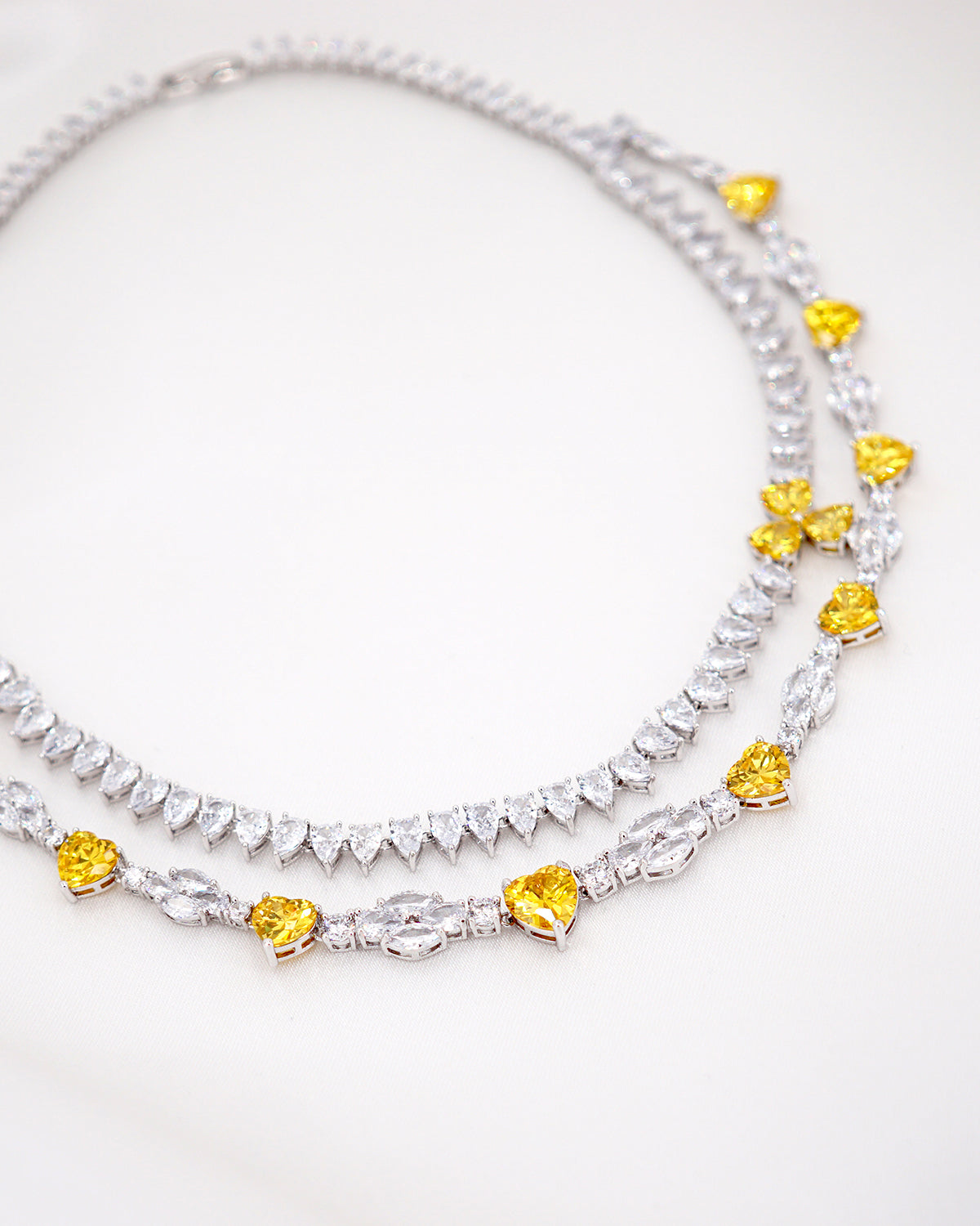 Statement Topaz Heart Necklace | Bridal Brides Wedding Jewelry