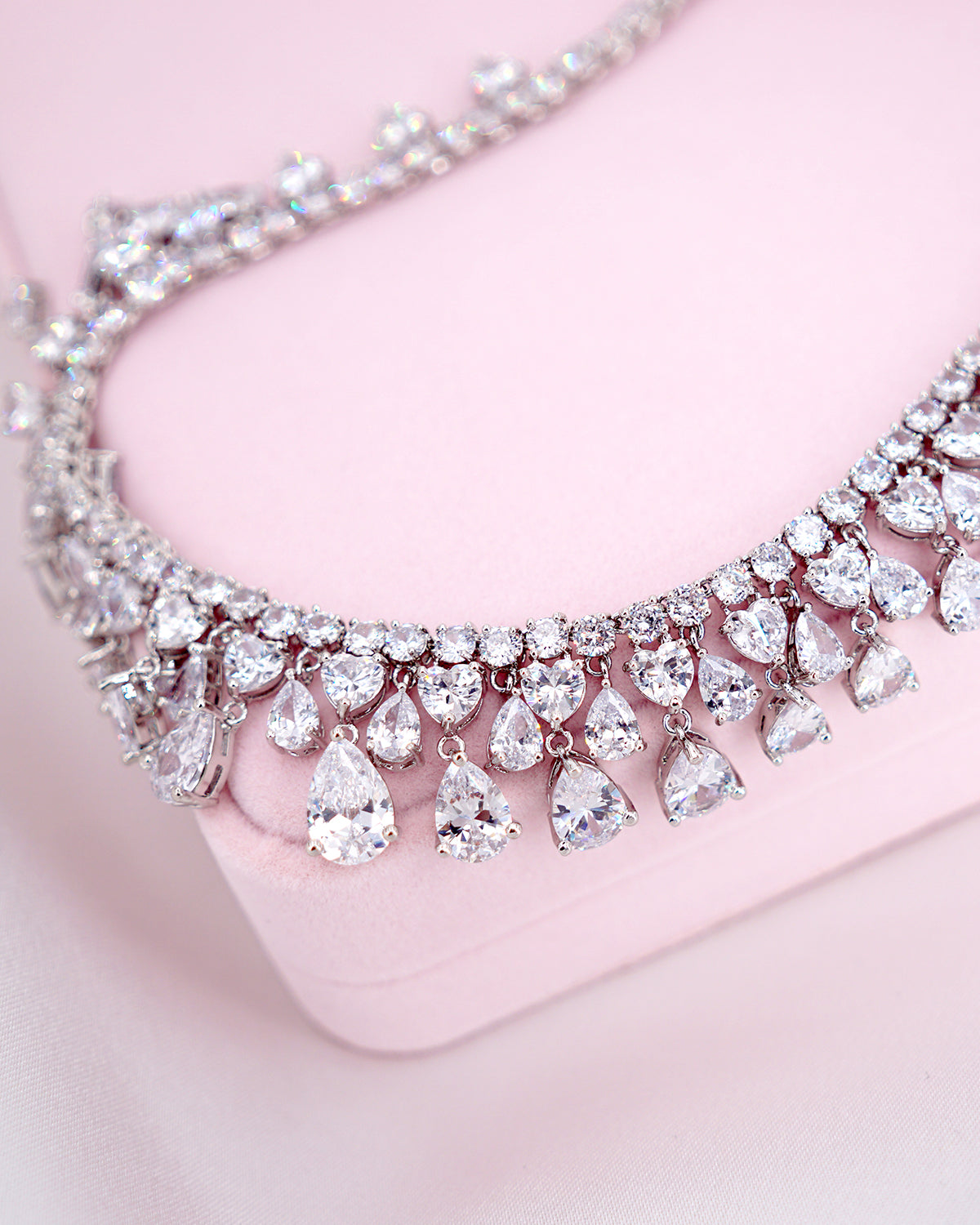 Statement Heart Princess Necklace | Bridal Brides Wedding Jewelry