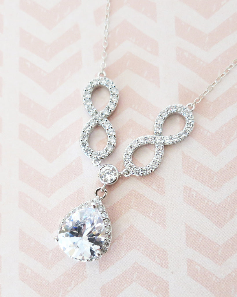 Forever - CZ Infinity Luxe Teardrop Pendant Necklace
