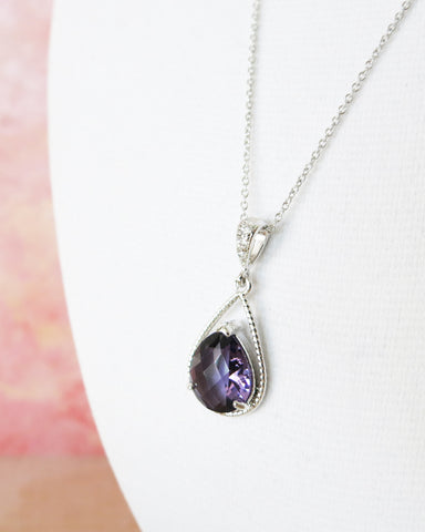 Amethyst Glass Teardrop Necklace