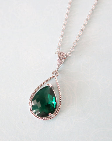 Emerald Glass Teardrop Necklace