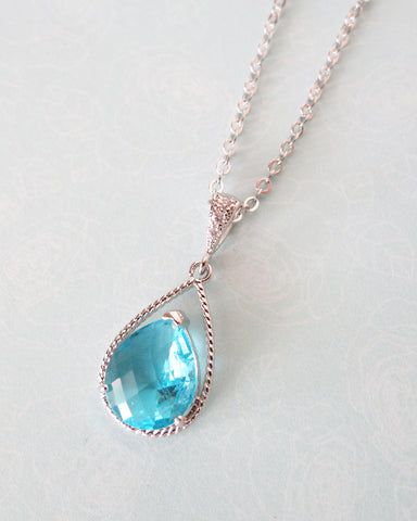 Aquamarine Blue Glass Teardrop Necklace