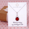 Ruby Red Glass Teardrop Necklace