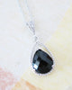 Jet Black Teardrop Necklace