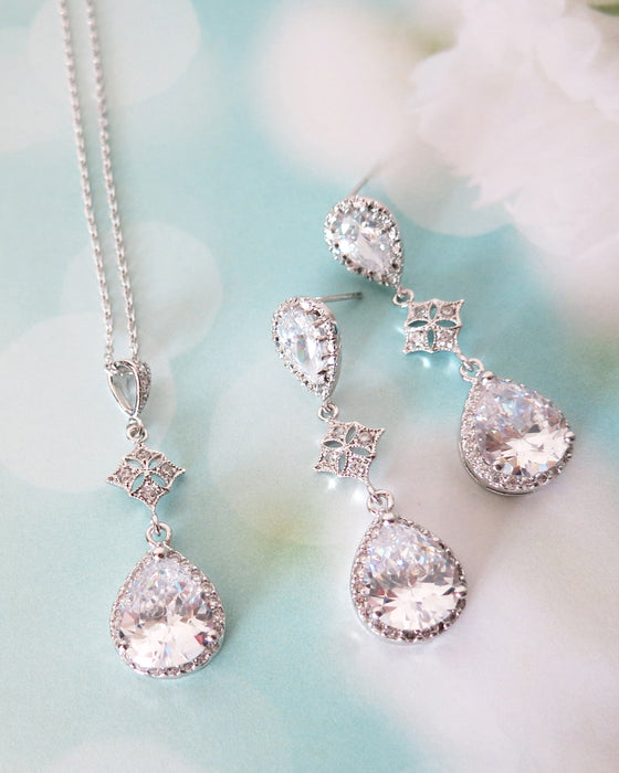 Vintage Style Teardrop Necklace and Earrings| Wedding Jewelry | Elegant Timeless