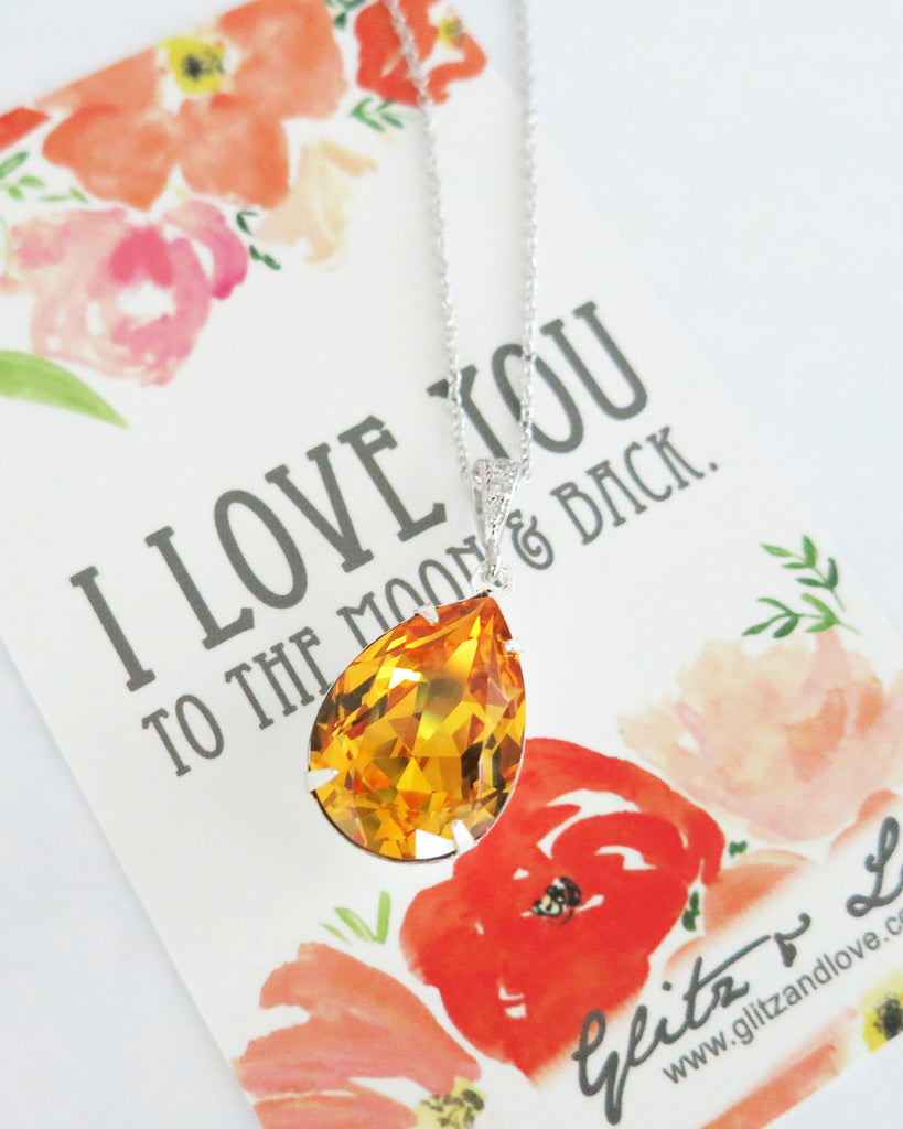 Sunflower Yellow Crystal Necklace