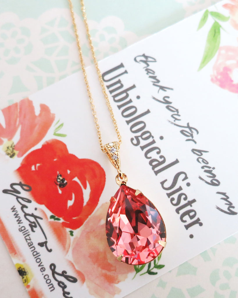 Rose Peach Crystal Necklace