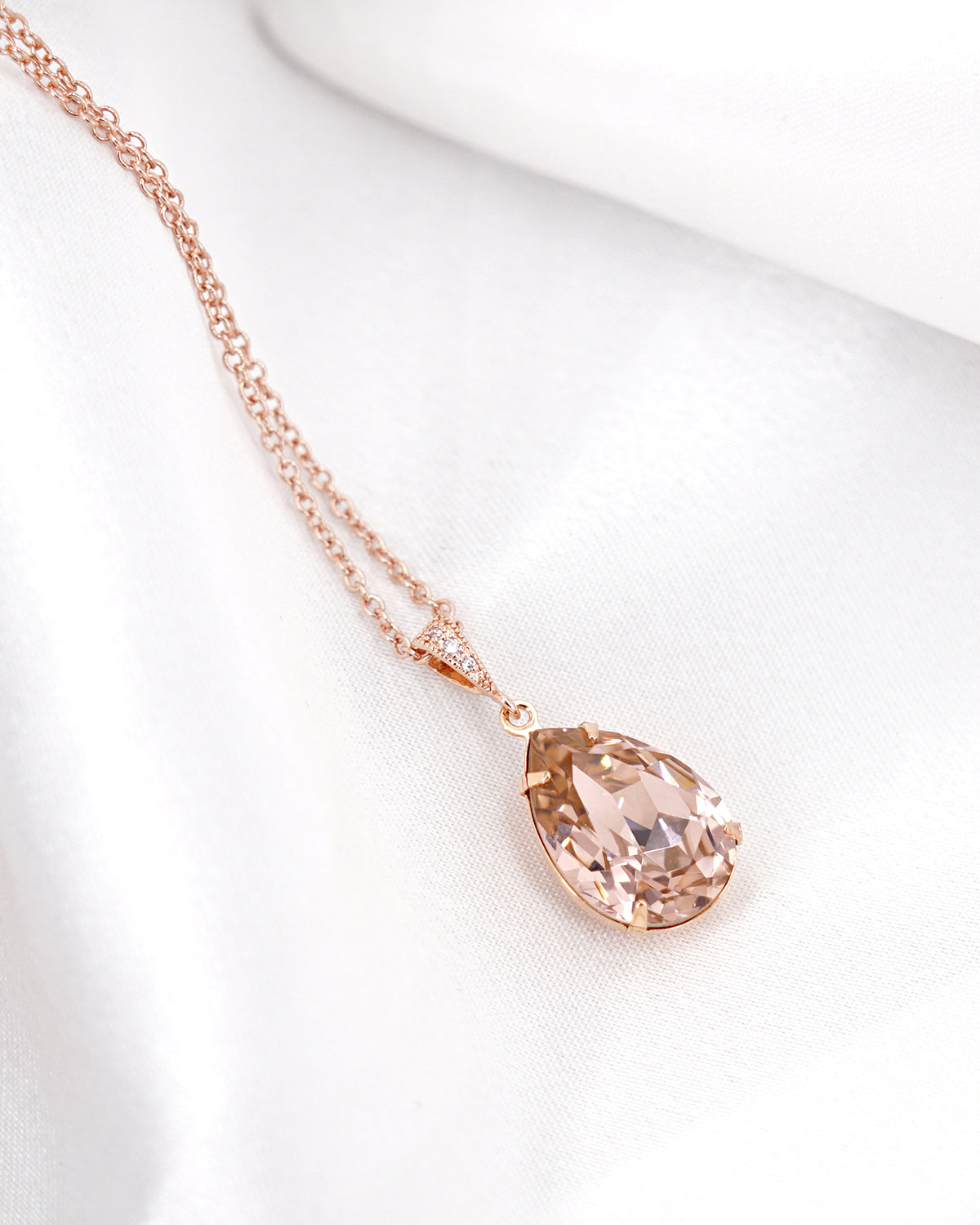 Pink Crystal Necklace | Simple Colorful Jewelry | Bridal Bridesmaid