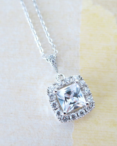 Square Halo Necklace