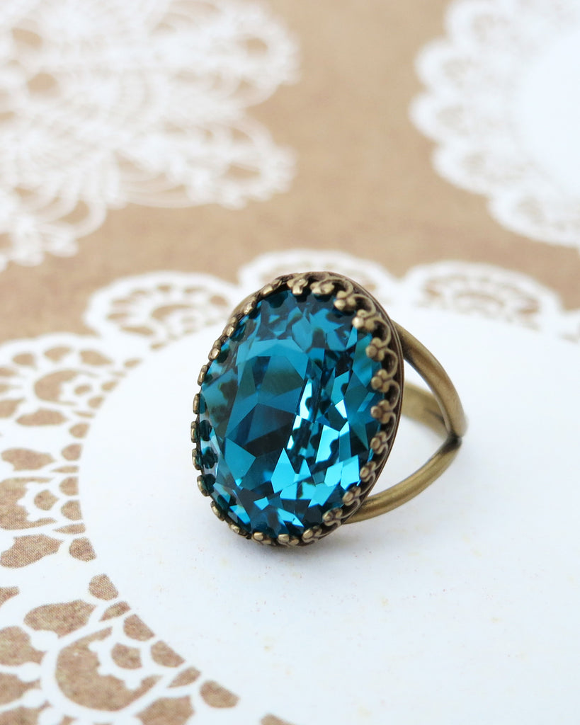 Indicolite Blue Crystal Cocktail Ring