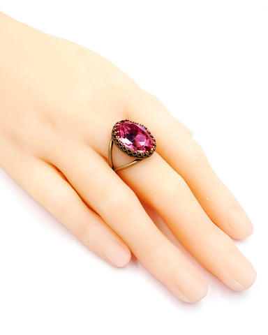 Rose Pink Crystal Cocktail Ring
