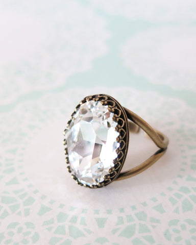 Clear Crystal Cocktail Ring
