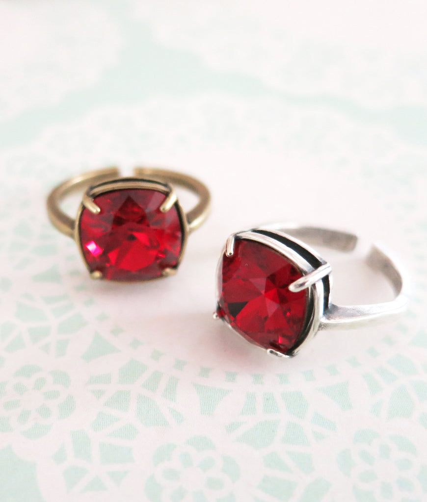 Siam Red Crystal Cocktail Ring