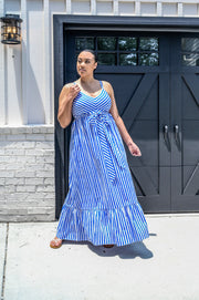 Striped Ruffle Maxi Dress - Final Sale