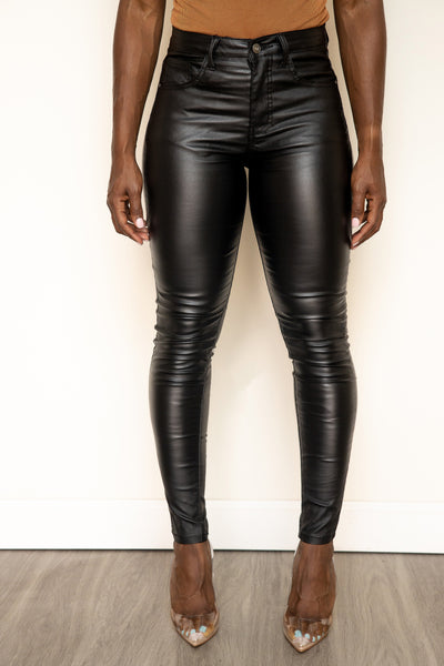 Faux Leather Denim Pant - Black