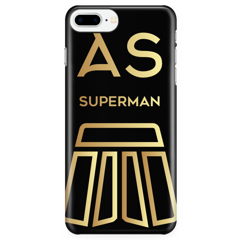 AS Superman | Black iPhone 7 Plus Custom Case Protector | GOLD