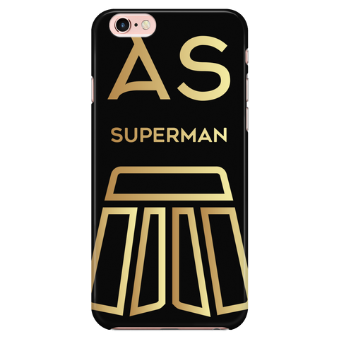 AS Superman | Black iPhone 6/6s Custom Case Protector | GOLD