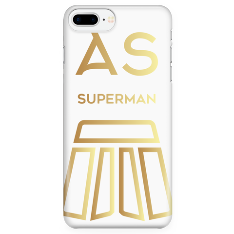 AS Superman | White iPhone 7 Plus Custom Case Protector | GOLD