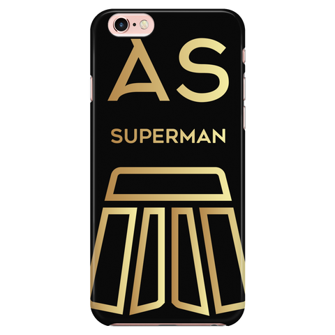AS Superman | Black iPhone 7 Custom Case Protector | GOLD
