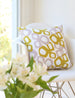 Modern pattern pillow in yellow/pink/white