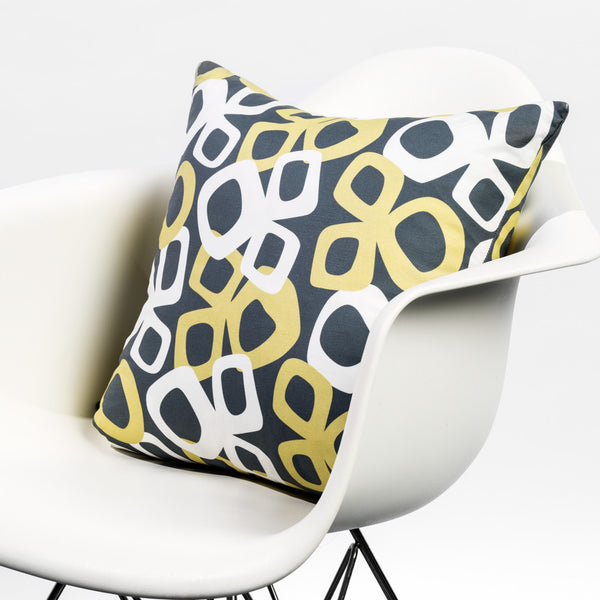 Modern pattern pillow in dark gray/green/white