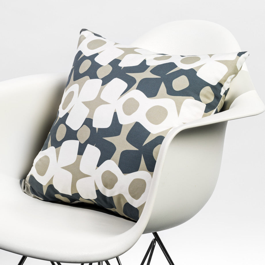 Modern pattern pillow in dark blue/gray/white