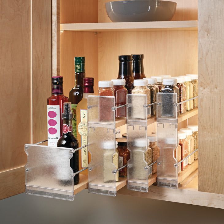 Hafele Pull-Out Spice Rack, Wooden Kitchen Cabinet Accessory
