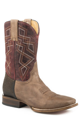 Roper 09-020-8500-1545 MEN'S LEATHER COWBOY BOOT OILED BROWN VAMP WITH BROWN BULLHIDE HEEL AND OILED RED UPPER WITH GEOMETRIC EMBROIDERY